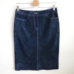 Danier Navy Suede Pencil Skirt Size 6